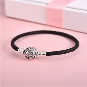 Authentic 925 Silver & Leather Charm Bracelet-18mm